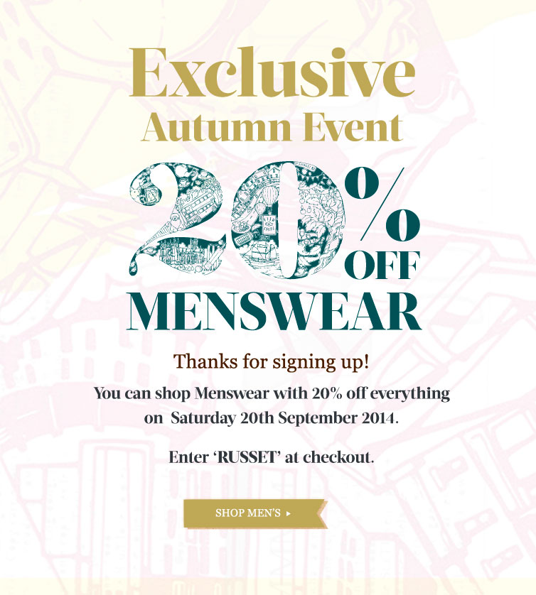 Men's 20% Off Event - Thanks